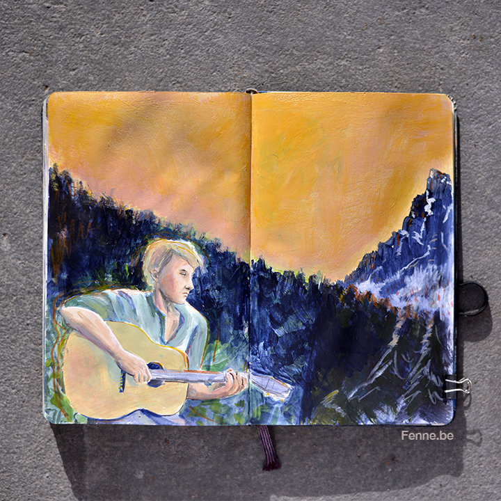 Inside my Moleskine travel sketchbook | visual storytelling by www.Fenne.be