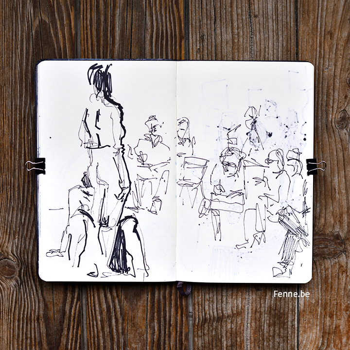 Model drawing in Antwerp | Moleskine sketchbook and markers | blogging @ www.Fenne.be (art & printmaking, travel, Scandinavia)