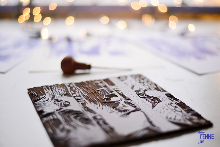 From sketch to linocut printmaking | blog on www.Fenne.be