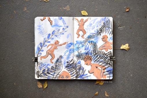 Inside my sketchbook | inktober 2017 | www.Fenne.be