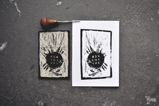 Linocut print | test and experiment with printmaking| Blog on www.Fenne.be