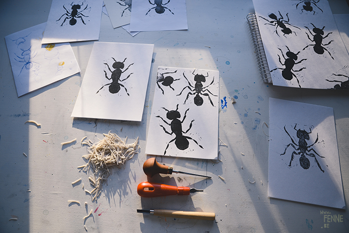 Ants, experiments, printmaking, block printing, Sweden, artist, www.Fenne.be