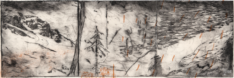 Landscape, etch, panorama, printmaking, www.Fenne.be