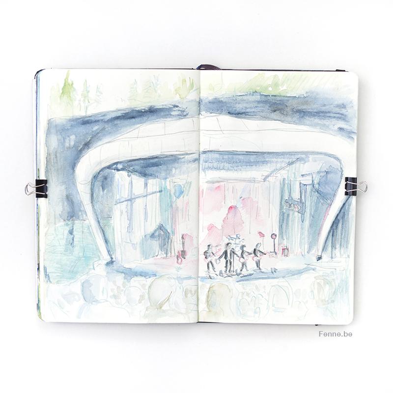 Lars Winnerbäck I Dalhalla Sverige, Inside my moleskine sketchbook, watercolor and pencil, artlife, concert drawing, www.Fenne.be