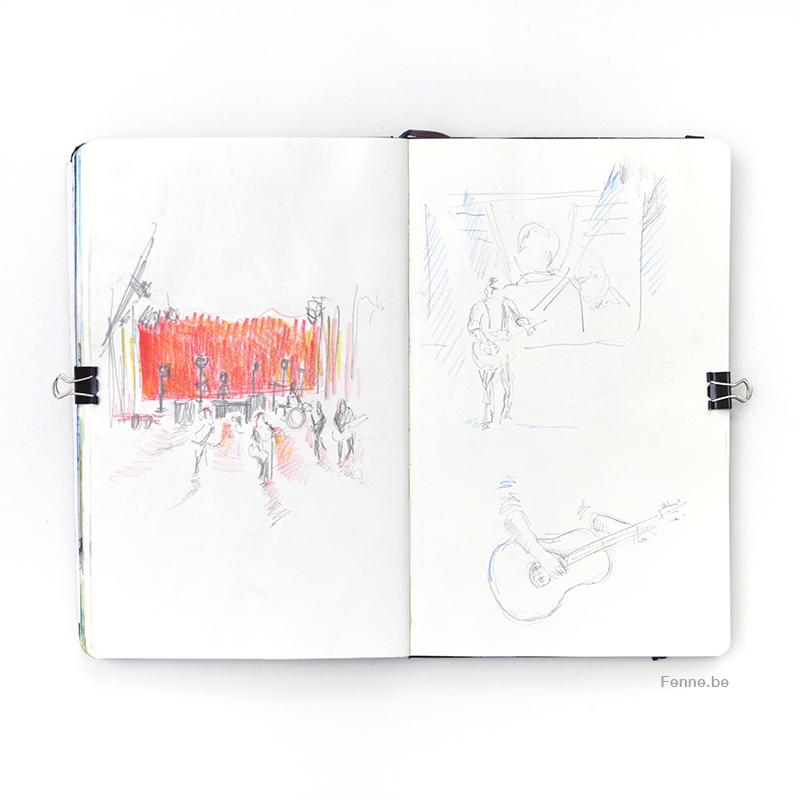 Lars Winnerbäck I Dalhalla Sverige, Inside my moleskine sketchbook, watercolor and pencil, art life, concert drawing, www.Fenne.be