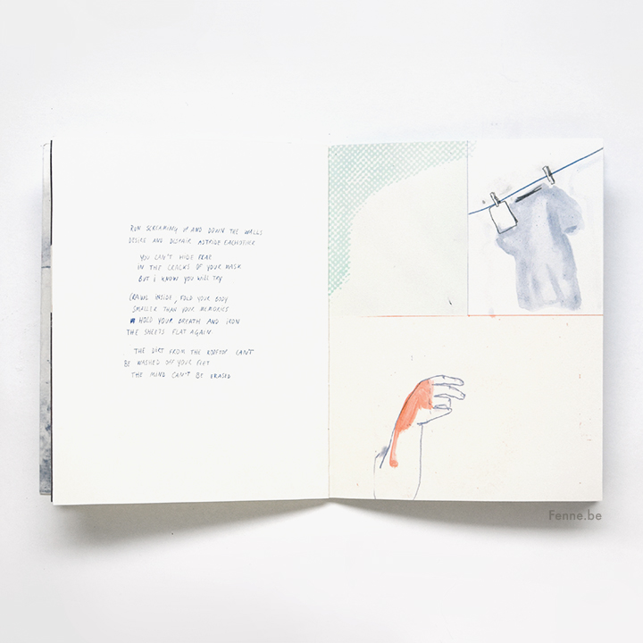 The Rooftop, a zine about love and courage, bookbinding, screenprint, www.Fenne.be