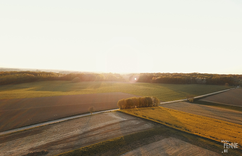 Bertem fields, Belgium, dronephotography, landscape and nature photography, sunset, www.Fenne.be