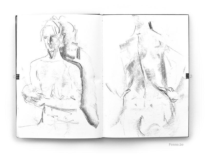 Sketchbook Falun model drawing, www.Fenne.be