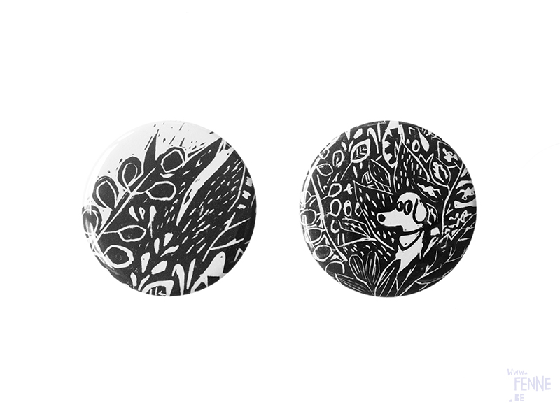 Fenne Kustermans illustration, making buttons, handmade pins, drawings, printmaking, www.Fenne.be