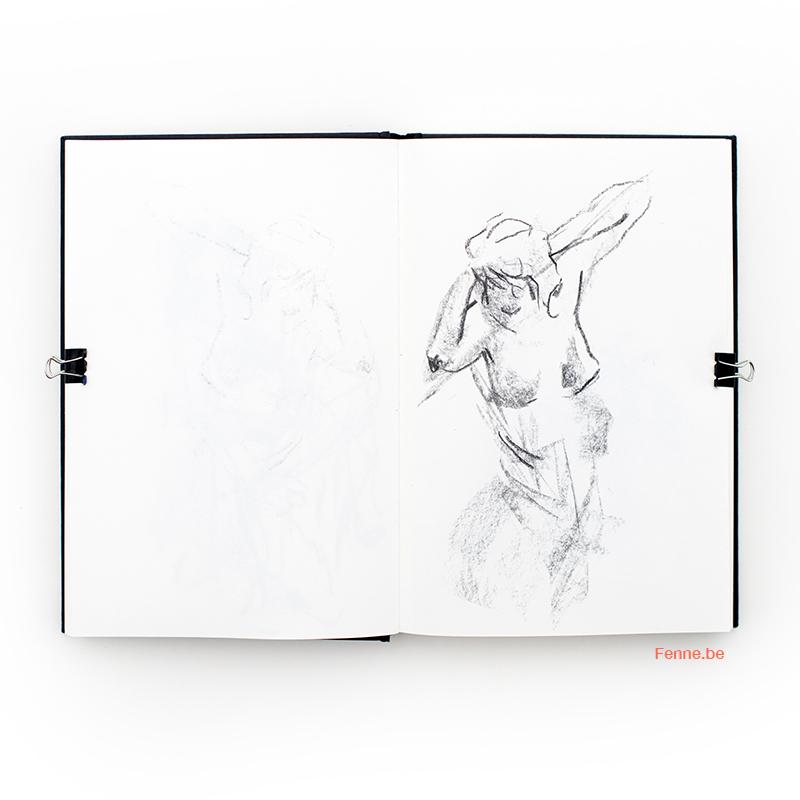 Belgian artist in Sweden, model drawing at Tekentuig in Antwerp, www.Fenne.be