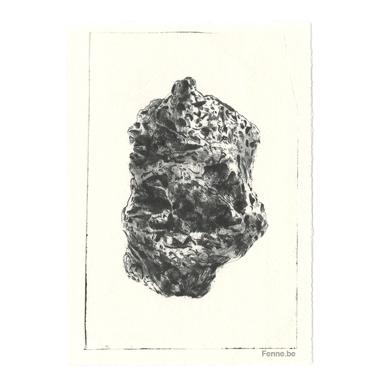 Rock. Fenne Kustermans drypoint needle etch. Artist/illustrator inspired by nature.www.Fenne.be
