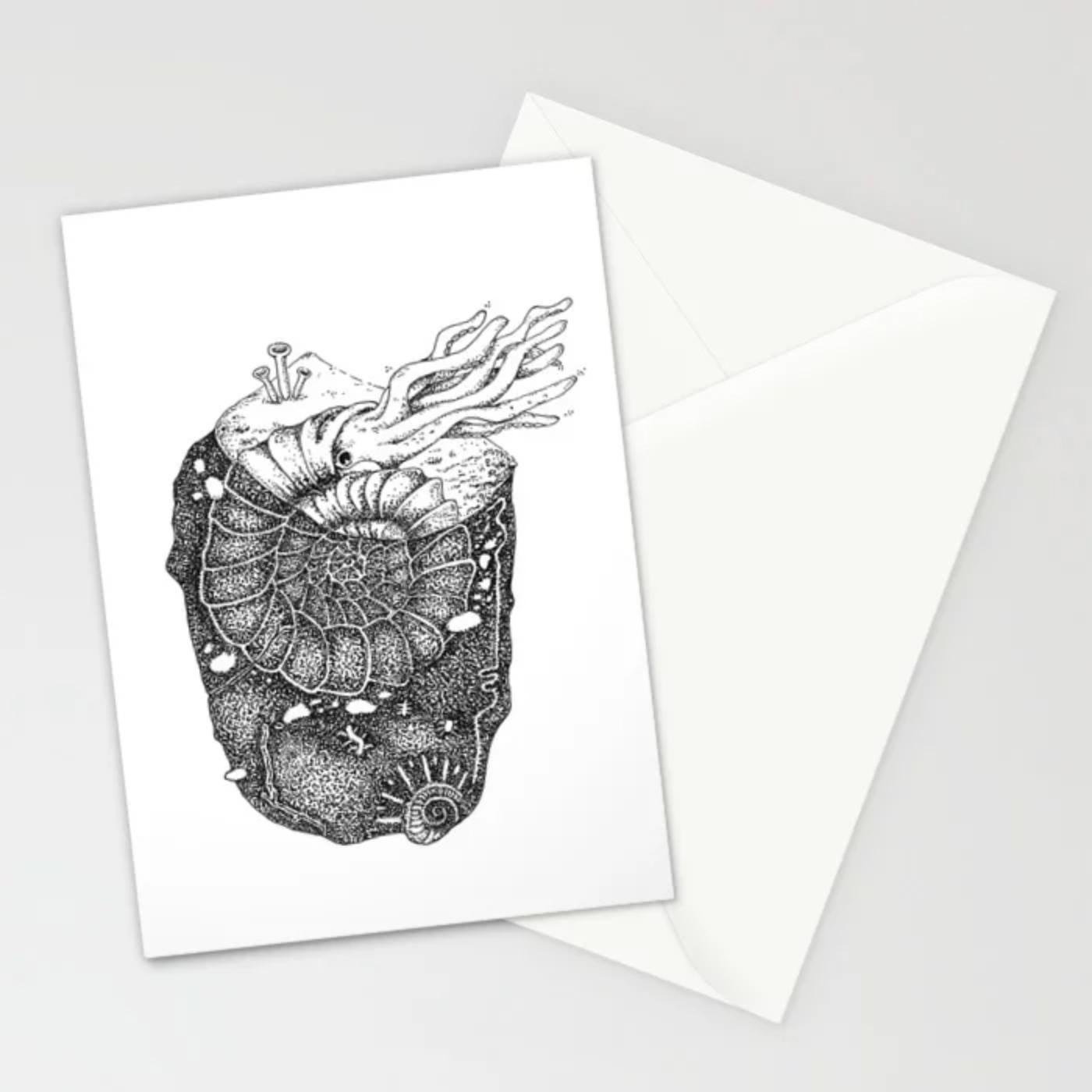 Fenne Kustermans, society6 artist, illustration, pen drawing, ammonite, fossil, rock hounding, www.Fenne.be