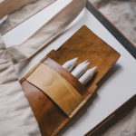 Leatherwork, leathercraft practice, saddle stitch leather pencil case, www.Fenne.be
