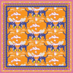 Rock hound, dog crystals pattern design for scarf. www.Fenne.be/ www.dogvision.eu